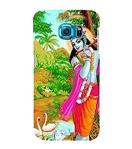 FIOBS lord sri krishna playing flute amazing birds enjoying srimahavishnu avatar Designer Back Case Cover for Samsung Galaxy S6 Edge :: Samsung Galaxy S6 Edge G925 :: Samsung Galaxy S6 Edge G925I G9250 G925A G925F G925Fq G925K G925L G925S G925T