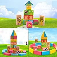 Joy Bukket DIY Learning Educational 52 pcs Bright Colourful Wooden Happy Farm Building Blocks for Kid's...
