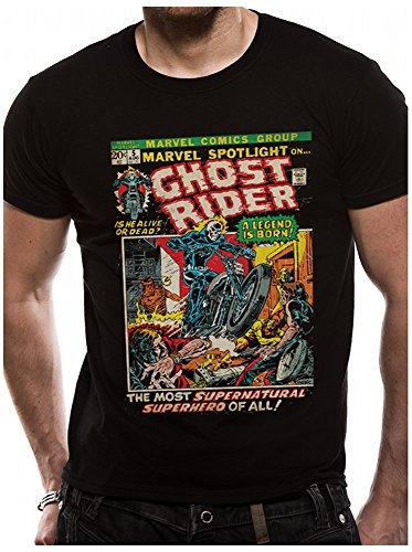 Offiziell lizenzierte Handelsware Marvel Ghost Rider Comic Crest Unisex T-Shirt, small (Ghost Schädel Rider)