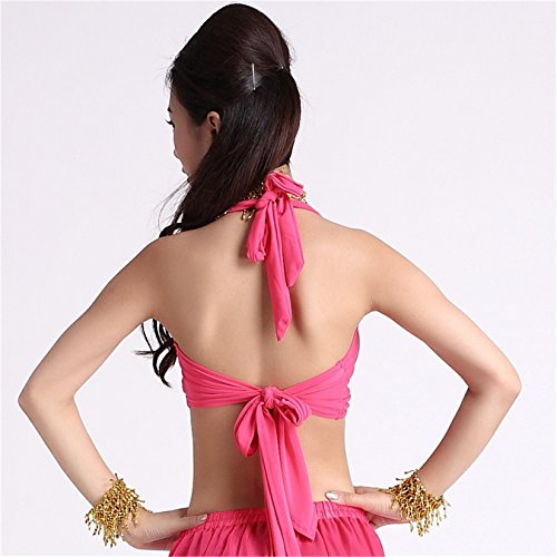 Dance Costume Sleeveless Bauchtanz Tops Yoga Tops Bra Costume Cotton Stretch Seamless Workout Dark Pink