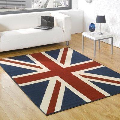 Union Jack–rojo, azul y crema–Ideal para dormitorios–bodas–infantil Kid habitaciones–Alfombra (80x 150cm)