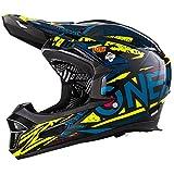 O'Neal Fury RL Fahrrad Downhill Helm Synthy Action Cam Mount Halterung FR MTB Mountain Bike Fullface, 0499-7, Farbe Blau Gelb, Größe M