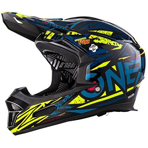 O\'Neal Fury RL Fahrrad Downhill Helm Synthy Action Cam Mount Halterung FR MTB Mountain Bike Fullface, 0499-7, Farbe Blau Gelb, Größe XS
