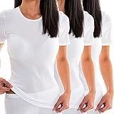 HERMKO 1800 3er Pack Damen Kurzarm Unterhemd, Farbe:weiß, Größe:44/46 (L)