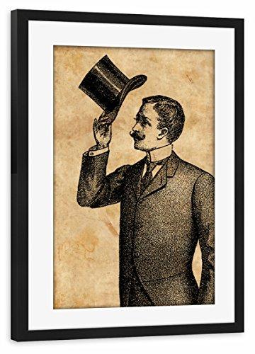 artboxONE Poster mit Rahmen Schwarz 75x50 cm Viktorianischer Gentleman von Artkuu - gerahmtes Poster