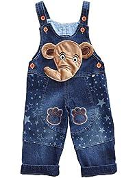 Happy Cherry - Salopettes Longues en Denim Bébé Fille Garçon - Pantalons Combinaison Enfant pour Printemp Automne - 2 Styles
