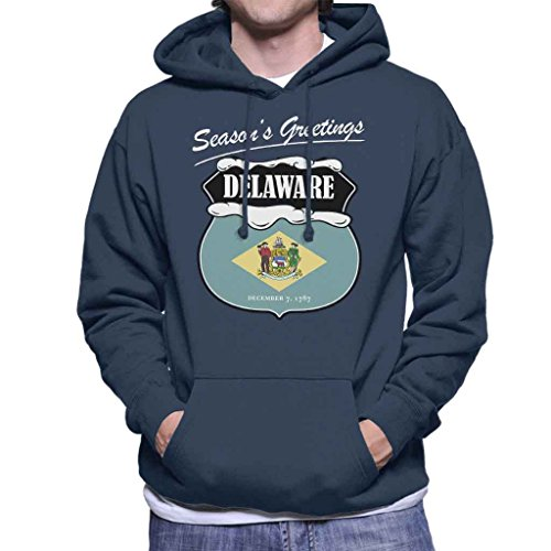 Seasons Greetings Delaware State Flag Christmas Men's Hooded Sweatshirt (Delaware Klassischen Sweatshirt)