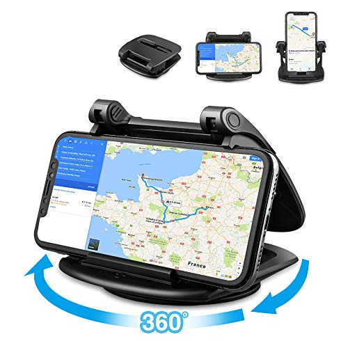 Porta Cellulare da Auto portatile per cruscotto dell'automobile, Cinati 360 °Tourner Supporto Smartphone per Auto cruscotto per iPhone / Samsung Galaxy / Huawei / One Plus / Sony ect.