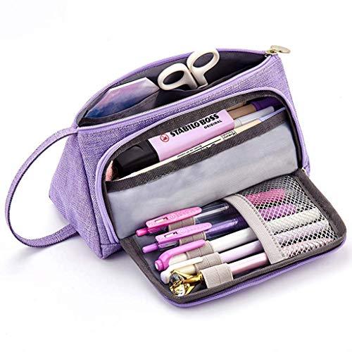 HunptaBig - Astuccio portamatite, per scuola, ufficio, università Purple
