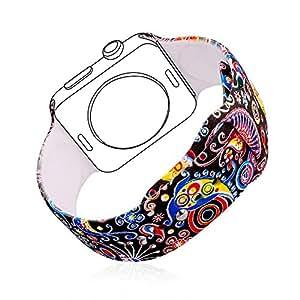 Bracelet pour iWatch Band, Bandmax Bracelet Remplacement pour Apple Watch Silicone Souple Sport Band Strap Conçu pour Toutes Éditions Apple Watch Série 2/Série 1 (Graffiti, 42mm)