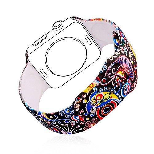 Correa para Watch Series 2 / 1 Bandmax 38mm Correa Deportiva Accesorio de Reloj Loop Silicona Reemplazo de Pulsera para Apple Watch Todos Los Modelos (Grafiti)