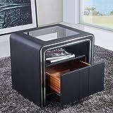 i-flair® - Nachttisch, Nachtkonsole aus hochwertigem Kunstleder - S85 Schwarz