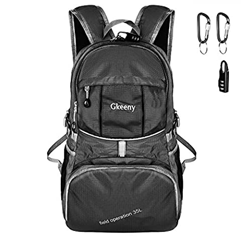Gkeeny Lightweight Foldable Backpack 35L Ultralight Waterproof Travel Hiking Camping Outdoor Rucksack Daypack [Black]