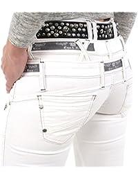 Stylische Damen Jeans von Cipo & Baxx weiß mit dreifachem Bund