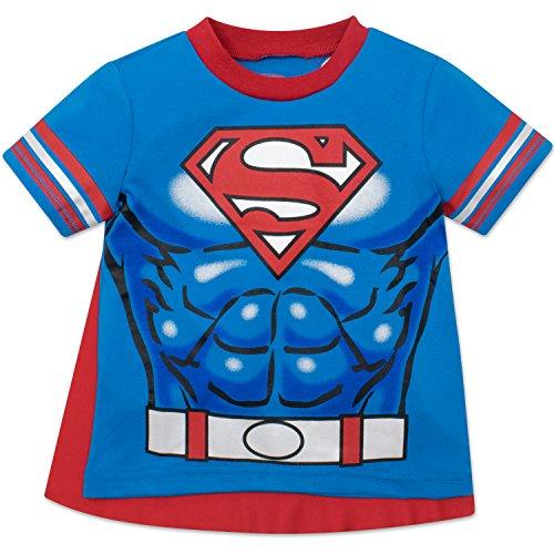 DC Comics Camiseta de Manga Corta de Supermán con Capa - Disfraz Friki Divertido para Niños, Azul 2 Años