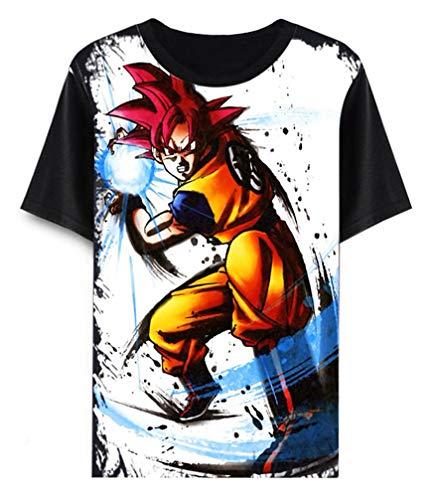 Cosstars Anime Dragon Ball Z Goku T-Shirt Cosplay Kostüm Sommer Kurzarm Tee Top Shirts Schwarz 14 L (Naruto Dragon Ball Z Kostüm)