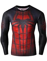 CT27 3D Druck Rot Fest Kompression Langarm-Shirt Grundschicht für Sport Fashion