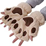 FeiBeauty Mädchenherbst- und -wintert-shirt der netten Katze Tatzenplüsch halbe Fingerhandschuhe im Freien windundurchlässige Handschuhe.