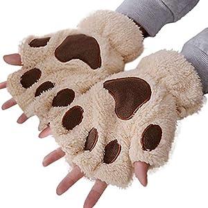 ☺HWTOP Frauen Winter Handgelenkwärmer Gestrickte Tastatur Lange Fingerlose Handschuhe Mitten Halbe Fingerkatze Krallen Plüsch Handschuhe