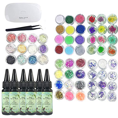 s UV-Epoxidharz-Kit 180g mit 60 Dekorationssätzen + Mini-Kompaktlampe + Pinzette, einschließlich Glitzer-Blumen-Pailletten Holographic Glassine Shell Perlmutt ()