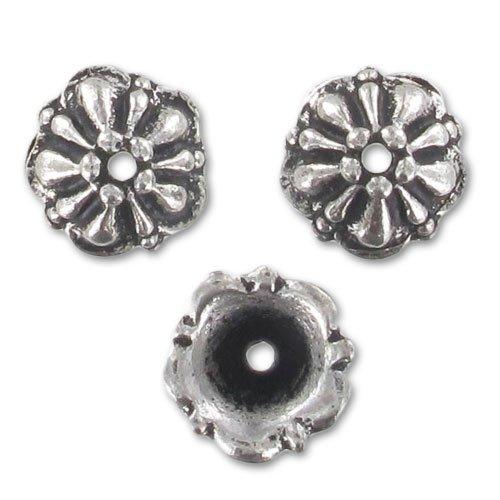 Tierracast Perlenkappen Tiffany 7,5mm Antik Silberfarben x1