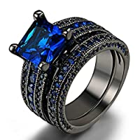 Man's/Women's Black Alloy Ring Black/Blue Carbon Fiber Inlay Polished Finish Edges Comfort Fit (10)