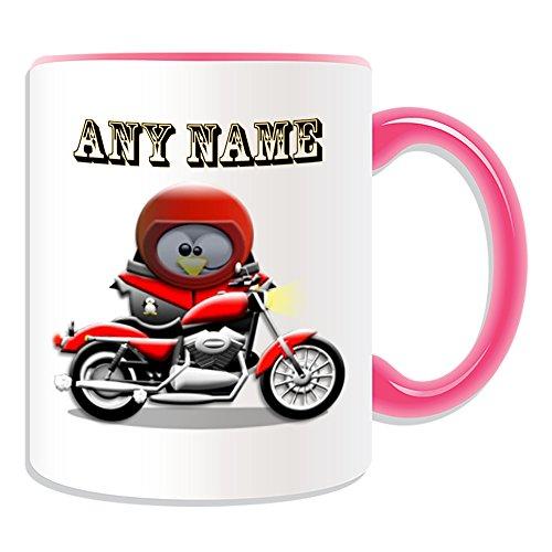 Personalisiertes Geschenk-Motorrad Tasse (Design Pinguin in Kostüm Thema, Farbe Optionen)-alle Nachricht/Name auf Ihre einzigartige-Motor Rider Bike Motorrad Cycle, keramik, (Son In Law Kostüm)