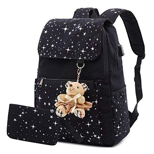 AM SeaBlue Girls School Sac à dos Canvas Sacs à dos Daypack Étudiants School Bookbag Sacs pour Adolescent Fille Femmes (01-Noir)