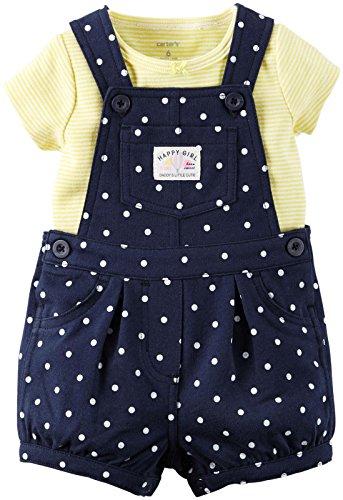 Carters's Latzhose + T-Shirt 50/56 Sommer Set Baby Mädchen Shorts Outfit girl Shorts US size newborn girl Blumen,Punkte (50/56 (newborn), gelb/blau)
