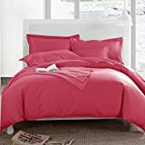 #7: Duvet Cover - Double Size - Solids 144TC Cotton Duvet / Quilt / Comforter Cover with 2 Pillow Covers by Ahmedabad Cotton - Red