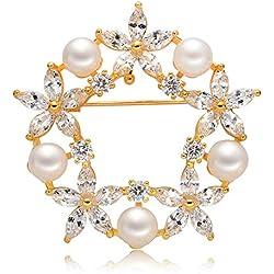 Epinki Joyería Chapado en Platino Broches para Mujer Flor Perla Circonita Oro Broches