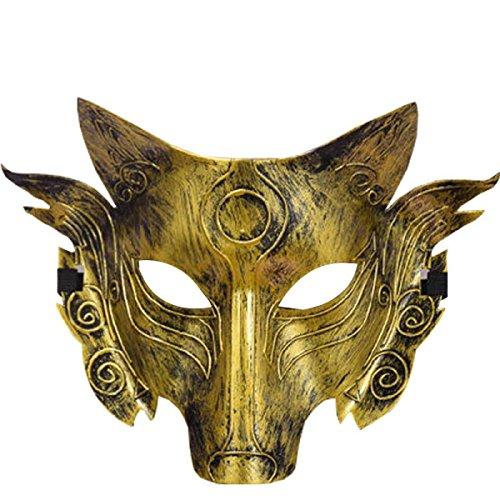 Horror Wölfe Party Maske Halloween Ghost Festival Makeup Tanz Maske,Gold-L