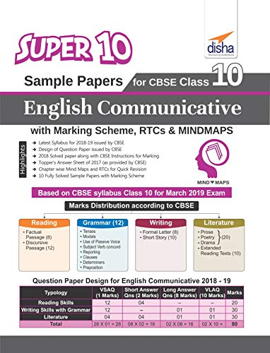 Super 10 Sample Papers for CBSE Class 10 English Communicative with Marking Scheme, RTCs & Revision Notes