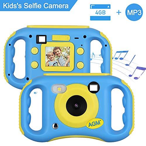 AGM Fotocamera per Bambini, Fotocamera Digitale Videocamera per Bambini HD Videocamera Ricaricabile Schermo a Colori da 1,7 Pollici Camma da 5 MP per Bambini (Giallo Blu)