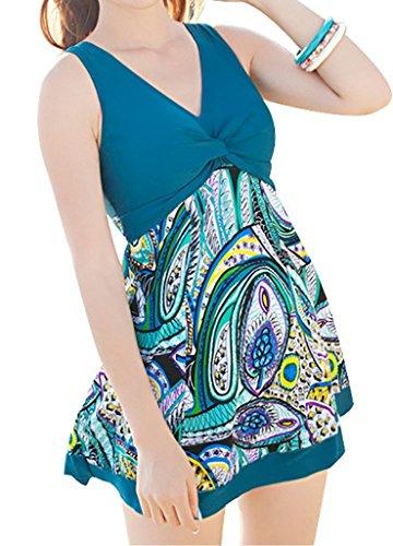 Azyuan da donna One Piece Shaping corpo con fondo Swim Dress Blue