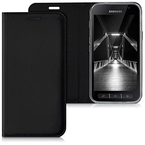 kwmobile Hülle für Samsung Galaxy Xcover 4 - Flipcover Case Handy Schutzhülle Kunstleder - Bookstyle Flip Cover Schwarz