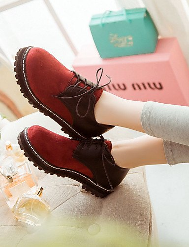 ZQ Scarpe Donna - Stringate - Tempo libero / Ufficio e lavoro / Casual - Comoda / Punta arrotondata / Chiusa - Piatto - Finta pelle -Nero / , red-us10.5 / eu42 / uk8.5 / cn43 , red-us10.5 / eu42 / uk8 blue-us8.5 / eu39 / uk6.5 / cn40
