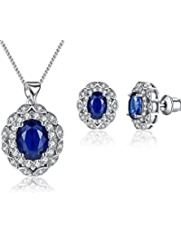 LillyMarie Ladies jewellery set silver Stones Zirconia blue sapphire length adjustable gift Box, Gift for women wife