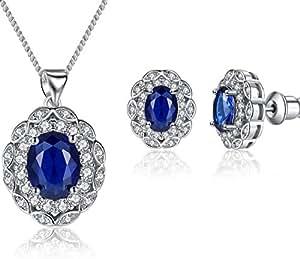 Floray Damen Elegantes Schmuckset, Ovaler Saphir Blau