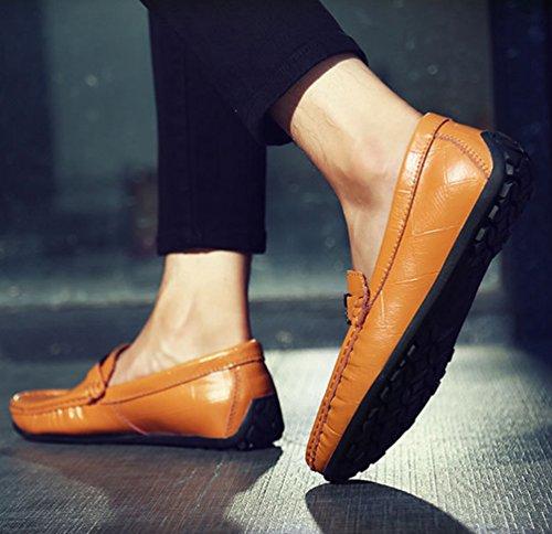 Dooxi Hommes Décontractée Plat Loafers Chaussures Confort Mocassins Conduite Chaussure Marron