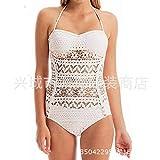 FuweiEncore Maillot de Bain Bikini Maillot de Bain Siamois Occidental, Dentelle apparente tissée, Blanc, l (coloré : comme montré, Taille : Taille Unique)