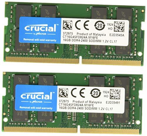 Crucial CT16G4SFD824A 32GB (16GB x2) Speicher Kit (DDR4, 2400 MT/s, PC4-19200, Dual Rank x8, SODIMM, 260-Pin) -