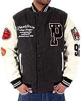 Phat Farm Mens Boys College Bomber Baseball Varsity Warm Winter Jackets Charcoal Grey Black