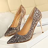 Xue Qiqi Leder Silber Spitze des high-heel Schuhe fein mit Farbverlauf einzelne Schuhe weiblichen goldenen Hochzeit Schuhe, 37, Champagner Farbe