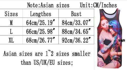 Yonbii Unisex Digital Print 3D Aufdruck Kurzarm Design Tops Hemd Herren T-Shirt Two Girls