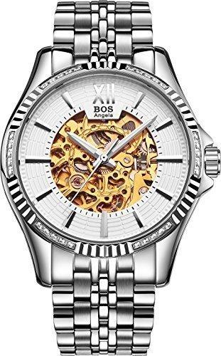 Angela Bos hombre moda propia esqueleto mecanico automatico de Viento plata caso blanco marcado reloj de muñeca de banda de acero inoxidable