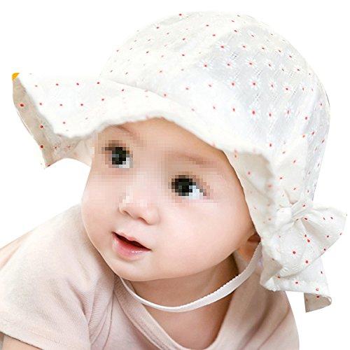TININNA Chapeau de Soleil d'été Imprimé Fleur Floral Anti-UV Bébé Unisexe Enfant Bonnet Casquette Fille et Garçon 6mois-2ans Blanc