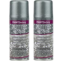 Silver Glitter Effect Colour Spray Paint Decorative Creative Crafts 200ml x2