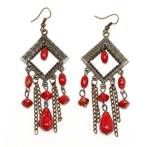 Idin Lüster Ohrstecker - rote oxidiertes Messing eckig mit Perlen und Ketten vintage Ohrringe Kronleuchter - Kupfer Rustikal Kronleuchter