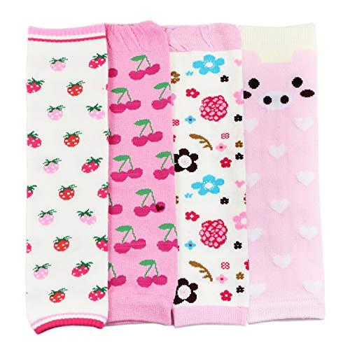 Dotty Fish Baby & Kleinkind Stulpen Multipack - Mädchen 4-pk mit mit Kirschen, Erdbeeren und Blumen